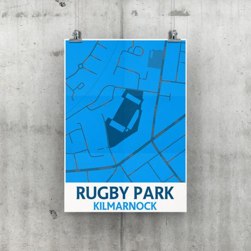 Rugby Park Kilmarnock Geo Poster A3 Size