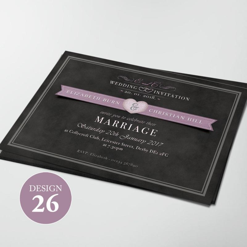 100 Personalised Wedding Invitations Day or Evening