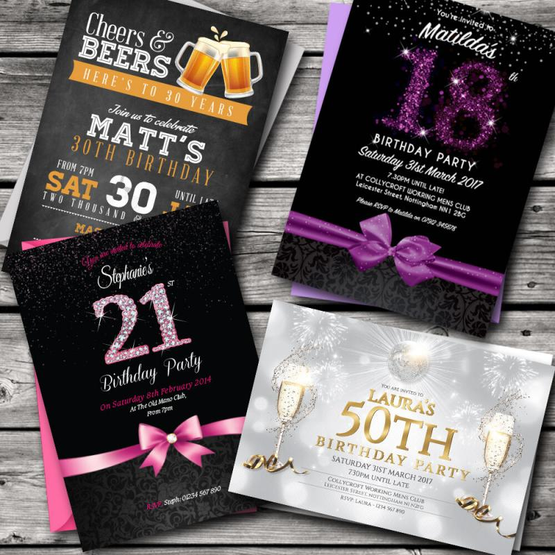 100 Personalised Birthday Invitations, Party Invites • 18th 21st 30th 40th 50th 60th