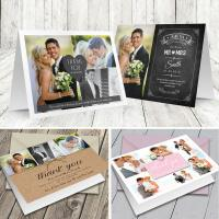 100 Personalised Wedding Thank You Cards Folded with Photo   Colour Envelopes