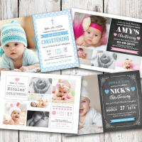 100 Personalised Photo Christening Baptism Invitations Boy or Girl