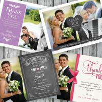 100 Personalised Wedding Thank You Cards with your photos   Envelopes